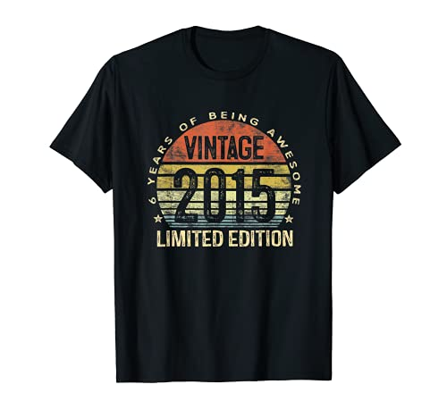 6-Year Old Gifts Vintage 2015 Limited-Edition 6th Birthday T-Shirt