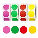 2000 PCS Etiqueta adhesiva de color en rollo Código de Colores Etiquetas Pegatinas redondas Pegatinas Removibles Redondo Papelería Pegatinas para Oficina ideal para muchos artículos de inventario