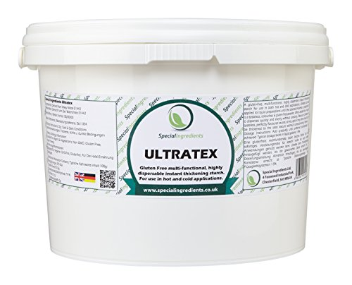 Ultratex 1kg - Un almidón de espesamiento instantáneo sin gluten, multifuncional, de alta dispersabilidad para uso en aplicaciones frías y calientes. (etiquetas e instrucciones del español)