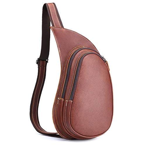 Men's Genuine Leather Sling Bag, Vintage Chest Bags, Casual Crossbody Satchel, Outdoor Travel Shoulder Backpack by BAIGIO (Large, Brown-L)