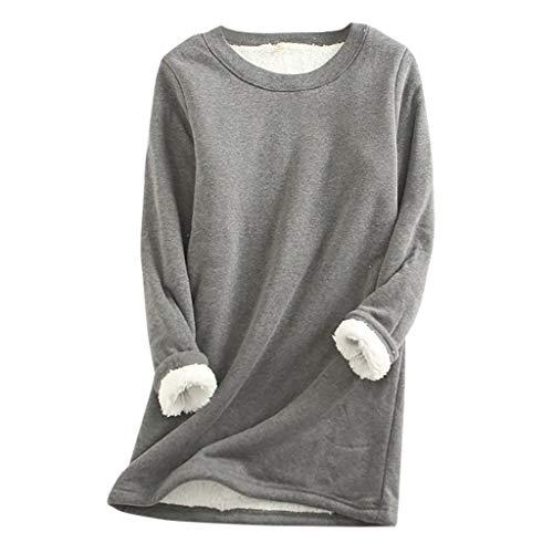 SHUANGA 2021 Neue Damen Dickes Fleece Sweatshirt Winter Samt Warmes O-Neck Unterwäsche Top Teddy-Fleece Langarm Oversize Sweatshirt Mantel Tops Mit Kapuze