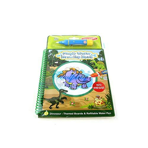 huichang Magic Water Malbuch, Magic Water Malbuch Kinder Creative Album Waterpainting Malbuch Unisex Kinderzauberei Wiederverwendbare Wasser-Zeichnungs-Buch (C-Dinosaurier)