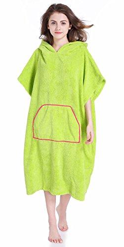 Winthome Ärmellos Badeponcho Handtuch,Bademantel mit Kapuze zum Umziehen am Strand/im Schwimmbad (grün)