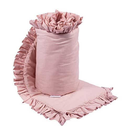 Kinderbett Stoßstange mit Volant 180x30cm, Baumwolle, schön, sanft, weich, für ein Kind, Babybett, Kinderzimmer, erholsamer Schlaf (39 schmutziges Rosa)