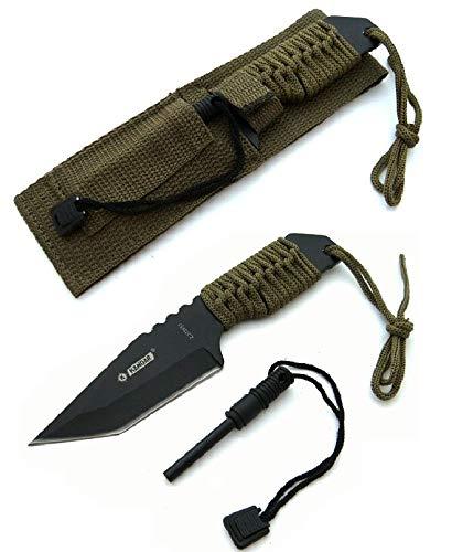 KOSxBO® Taktisches Survival Messer mit Feuerstein und Paracord - Fallschirmleine für Outdoor Camping Jagd Angeln Prepper - Hunting Knife Firestone - Zündstein - Multifunktional Fahrtenmeser