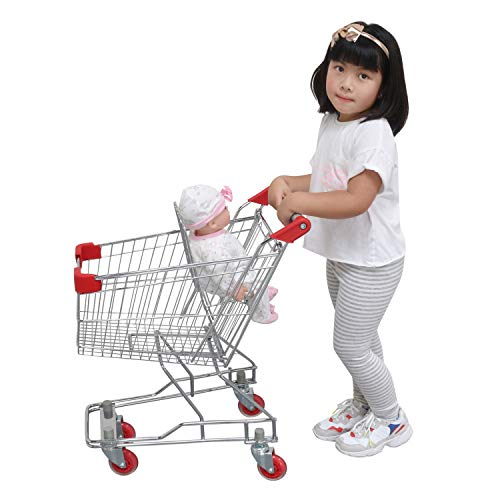 Emmzoe The Little Shopper Real Life Kids Mini Retail Grocery Shopping Cart with Doll Seat (Chrome Frame)