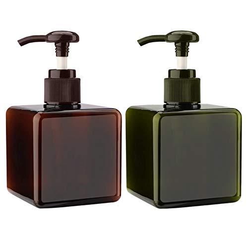 Alledomain 2PCS 250 ml Pumpspender Flasche Leere nachfüllbare Plastik Lotionspumpe Flaschen, Shampoo Body Wash Dusche Quadratischer Aufbewahrungsbehälter Behälter Flüssigkeitsspender (Grün & Braun)