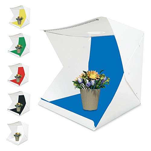 Tumax Mini Tragbares Fotostudio Schießzelt, Fotostudio 30×30cm,Kleine Faltbare 2 LED Lichtbox Softbox Kit mit 6 Farben Backdrops für Fotografie,Faltbare Foto Studio Zelt