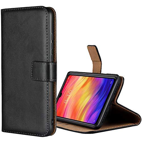 Aopan Xiaomi Redmi Note 7 Funda, Flip Funda de Cuero Genuina Piel Carcasa para Xiaomi Redmi Note 7, Negro