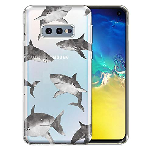 FINCIBO Case Compatible with Samsung Galaxy S10E 5.8 inch, Clear Transparent TPU Silicone Protector Case Cover Soft Gel Skin for Galaxy S10E (NOT FIT S10) - Gray Sharks