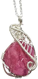 Raw Ruby Necklace - Sterling Silver Wire Wrapped Pendant - Pink Gemstone - July Birthstone Jewelry
