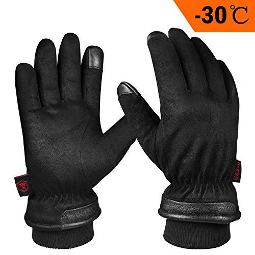 OZERO Herren Handschuhe,Thermo Winterhandschuhe mit Anti-Rutsch Leder Palme,Touchscreen-Fingerspitzen und Wasserdicht Einfügen für Lauf,Radfahren,Arbeit und Ski