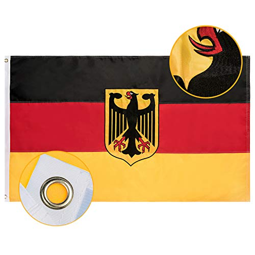 FLAGBURG Deutschland Flagge mit Adler 90 x 150 cm, Deutsche Fahne mit Gesticktes Muster (Nicht Gedruckt), Messingösen, Lebendige Farbe und UV-beständig, Durable Nationalflagge für Außenbereich