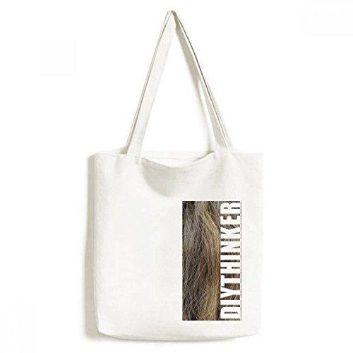 DIYthinker Braun Curly Gefärbtes Lange schöne Haar-Tasche Einkaufstasche Kunst Waschbar 33cm x 40 cm (13 Zoll x 16 Zoll) Mehrfarbig