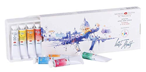 White Nights Artists' Watercolour - 12 x 10ml Tube Set Unique Color Scheme and Design