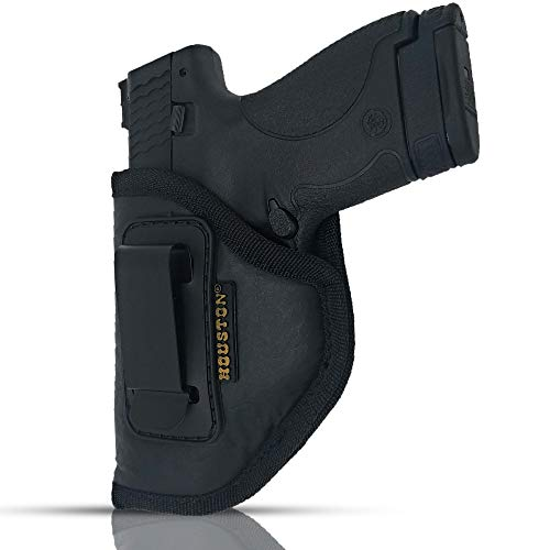IWB Gun Holster by Houston - ECO Leather Concealment Inside The Waistband with Metal Clip FITS Glk 26/27/33, M&P Shield, XDS, Taurus 709, Taurus Pro C, Walther P22, Beretta Nano, SCCY Sky, LC9