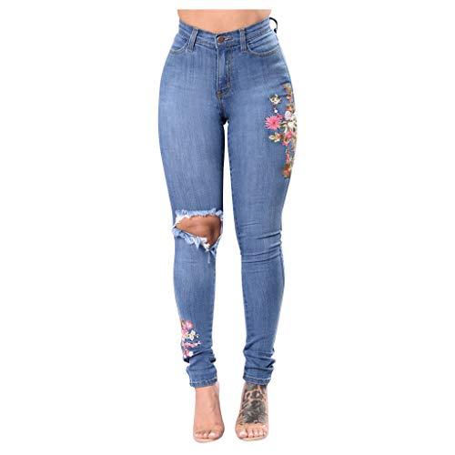 Letdown (TM) Pantalones vaqueros de mezclilla de cintura alta con bordado floral, ajustados, destruidos, destruidos, primaverales, pantalones vaqueros