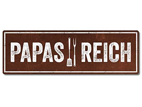 Interluxe Metallschild - Papas Reich - Schild in extra Schwerer Qualität, wetterfest und Made in Germany als Deko für den Grill