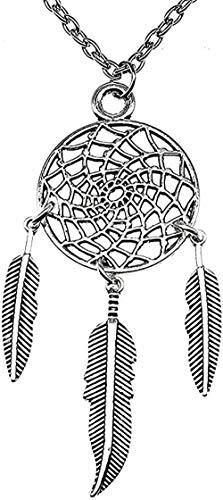 Yiffshunl Collar con Colgante de atrapasueños de Color Plateado Antiguo, Collar de 26X68 mm, Collar de Mujer, Regalo