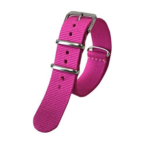 exótico perlón Nylon reemplazo de la Correa de la Banda de Reloj de una Sola Pieza Estilo de la NATO 18mm exquisitos de Las Mujeres de Color Rosa