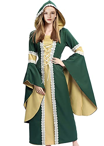 Women's Gothic Medieval Renaissance Vintage Witch Long Dresses, Victorian Retro Hooded Cloak Vampire Robe, Female Halloween Cosplay Costumes Outfits for Adults