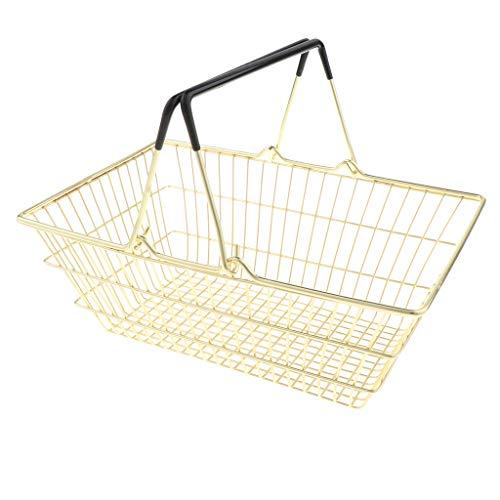 F Fityle Klein Supermarkt Einkaufskorb / Henkelkorb aus Metall Kinder Kaufläden Rollenspiele Spielzeug - Gold, L