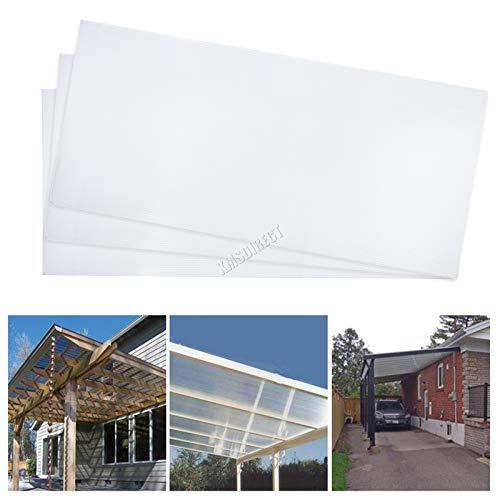 BIRCHTREE - Hojas de policarbonato para invernadero, 4 mm, 14 unidades, doble pared, para paneles de acristalamiento al aire libre, panel de repuesto sólido PS01 transparente