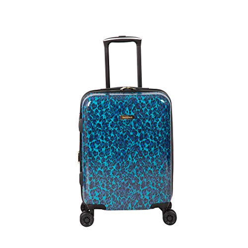 Isaac Mizrahi Unisex-Adult (Luggage only) Gabby, Blue Leopard, 22' 8-Wheel Hardside Spinner
