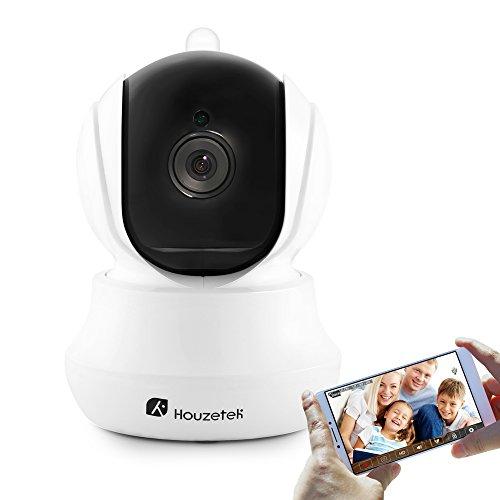 Telecamera di sicurezza wireless, Houzetek 720P HD Indoor WiFi Telecamera IP di sorveglianza domestica con rilevazione di movimento, scheda Micro SD e visione notturna, audio bidirezionale
