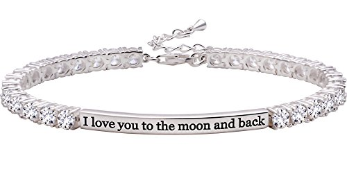 """ALOV Jewelry Sterling Silver """"I love you to the moon and back"""" 4mm Cubic Zirconia Tennis Bracelet"""