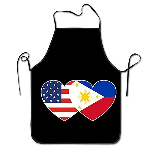 USA American Flag and Filipino Philippines Flag Unisex Waterproof Apron Novelty Kitchen Creative Cooking Baking Party Aprons