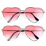 2 pares de gafas de sol con forma de corazón para hippie, accesorios de disfraz, ligeros y retro para mujeres y niñas, uso diario (una lente rosa, una lente azul y rosa, marco de oro rosa)