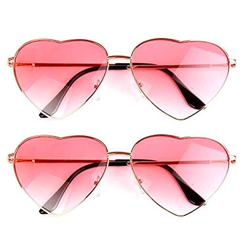 NETUME 2 Paar Herz Sonnenbrille Damen Hippie Brille für Hippie Dekoration, Leicht und Retro Passend für Damen und Mädchen Party Alltag (eine rosa, eine blaue und eine rosa Linse, Rose Gold Frame)
