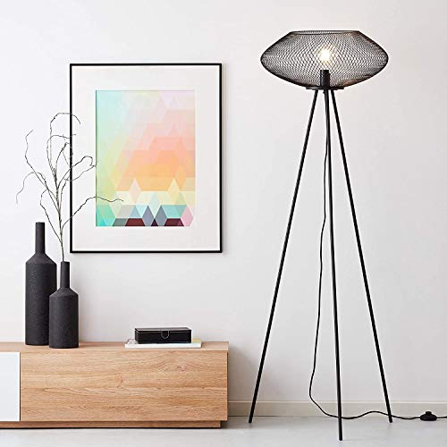 Lightbox Stehleuchte, LED Stehlampe dreibeinig, 154 cm, 1x E27 Fassung für max. 40 Watt aus Metall, schwarz