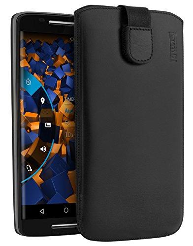 mumbi Echt Ledertasche kompatibel mit Motorola Moto X Play Hülle Leder Tasche Hülle Wallet, schwarz