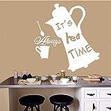 Alice im Wunderland speziell gestaltete Wandtattoo große Teekanne mit Zitaten Kunst Wandaufkleber Wandbild Home Kinderzimmer Dekor 60x67cm