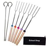 Ecloud Shop Marshmallow Roasting BBQ Sticks - Set of 5 Telescopic Stainless Steel Skewers - Perfect...