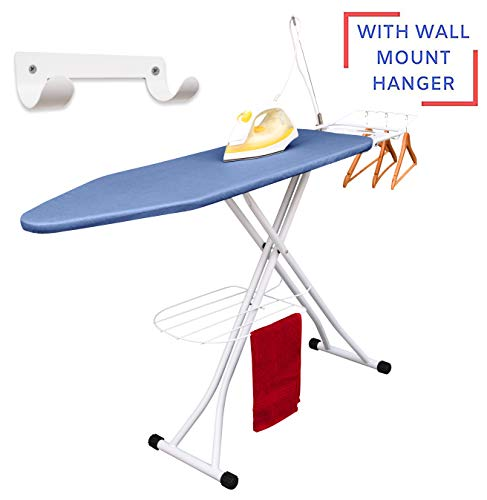 Xabitat Deluxe Ironing Board with Wall Mount, Storage Tray for Finished Clothes, Wire Rack for Hanging Shirts and Pants, Safety Iron Rest, Home Laundry Room or Dorm Use - Blue