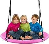 LY-YY Columpio para Exteriores Redondo para Niños Columpio para Árboles Asiento Nido Columpio Silla para Exteriores Reutilizable (Color : Pink)