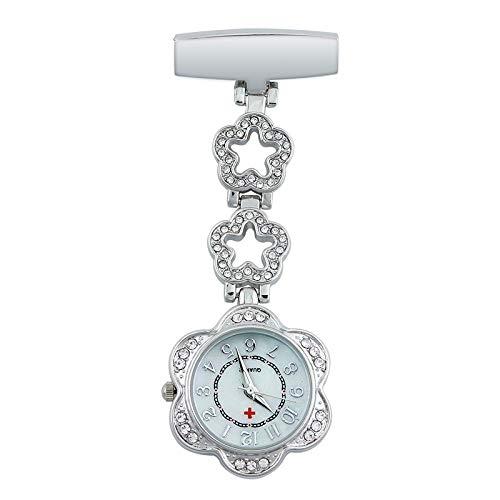 LEYUANA Clip-on Fob Reloj de Enfermera Broche Relojes Colgantes,Movimiento de Cuarzo deEnfermeraHombres Mujeres Reloj de Bolsillo de Acero Plata