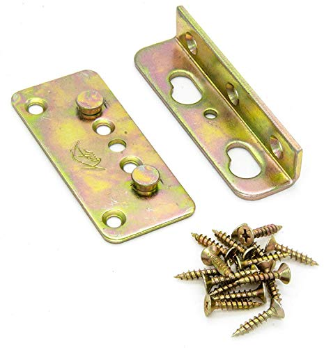 Kutir No-Mortise Bed Rail Fittings Complete Set of 4 - Heavy Duty Rust Proof Frame Bracket for Connecting to Wood, Headboards and Foot-Boards, Universal FIT - 3.4 X 1.4 X 0.6 Inch High with Screws