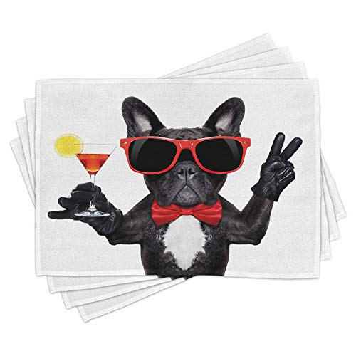 Lunarable Funny Place Mats Set of 4, French Bulldog Holding Martini Cocktail Ready for The Party Nightlife Joy Print, Washable Fabric Placemats for Dining Room Kitchen Table Decor, White Black