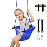 LUVIN Swing Seat for Kids Swing Sets for Backyard Tree Swing Accessories Adjustable Hanging Ropes Jungle Gym Heavy Duty Baby Indoor Outdoor Playground Door Tree Girl Saucer Swing Chair Net(Blue)