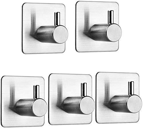 Auxmir Handtuchhaken 5 Stück Handtuchhalter Wandhaken Klebehaken Selbstklebend aus Edelstahl, Ohne Bohren, Rostfrei, Ideal für Bad Toilette Küche Büro, Silber