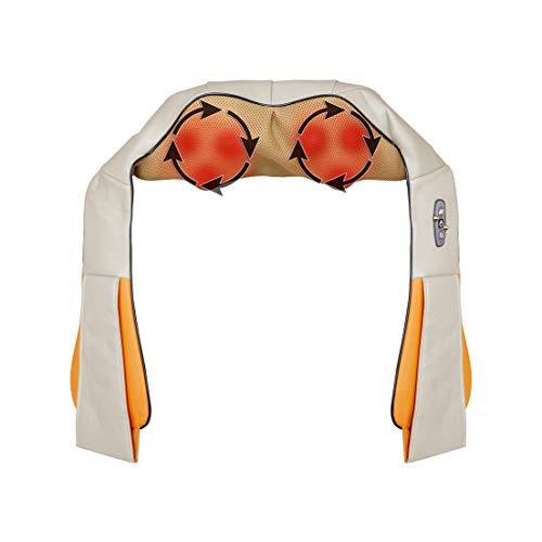 FILUMM Masajeador Cervicales y Espalda, Masaje Corporal Shiatsu Cuello y Hombros con Nodulos de Amasamiento Profundo 3D con Rotación, Intensidad Ajustable, Función de Calor Para Relajación en casa
