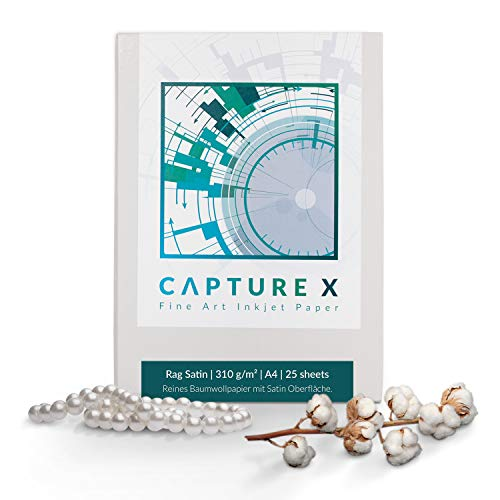 CAPTURE X Rag Satin, A4, 310g/m², 25 Blatt Box - Seidenglanz - 100% Baumwolle - Fine Art Paper