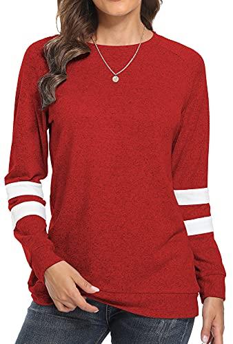 Makamaka Womens Sweaters Long Sleeve Shirts for Women Blouses Crewneck Sweatshirts Tunic Tops(Red L)