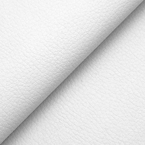 DESHOME Chiara - Tessuto al Metro Similpelle Idrorepellente anti-screpolatura Stoffa in Ecopelle h 140 cm per rivestimento divani, cuscini, tappezzeria (Bianco, 1 metro)