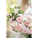 ling's moment blush 17 inch cascade bouquet,artificial flowers deluxe wedding bouquets for bride – bridal bouquet for wedding ceremony anniversary, bridal shower and french rustic vintage wedding