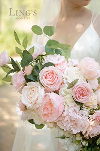 Ling's moment Blush 17 Inch Cascade Bouquet,Artificial Flowers Deluxe Wedding Bouquets for Bride – Bridal Bouquet for Wedding Ceremony Anniversary, Bridal Shower and French Rustic Vintage Wedding Silk Flower Arrangements